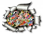 A4 Size Ripped Torn Metal Design With Colour JDM Style Stickerbomb Motif External Vinyl Car Sticker 300x210mm